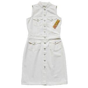 New LAUREN Jeans Co White Denim Dress Sleeveless 8